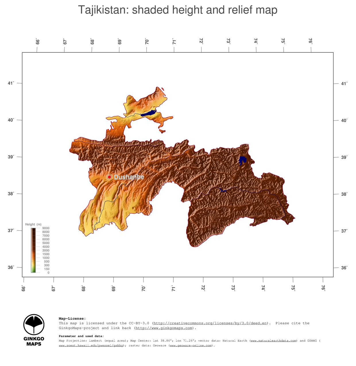 Map Tajikistan GinkgoMaps continent Asia region Tajikistan