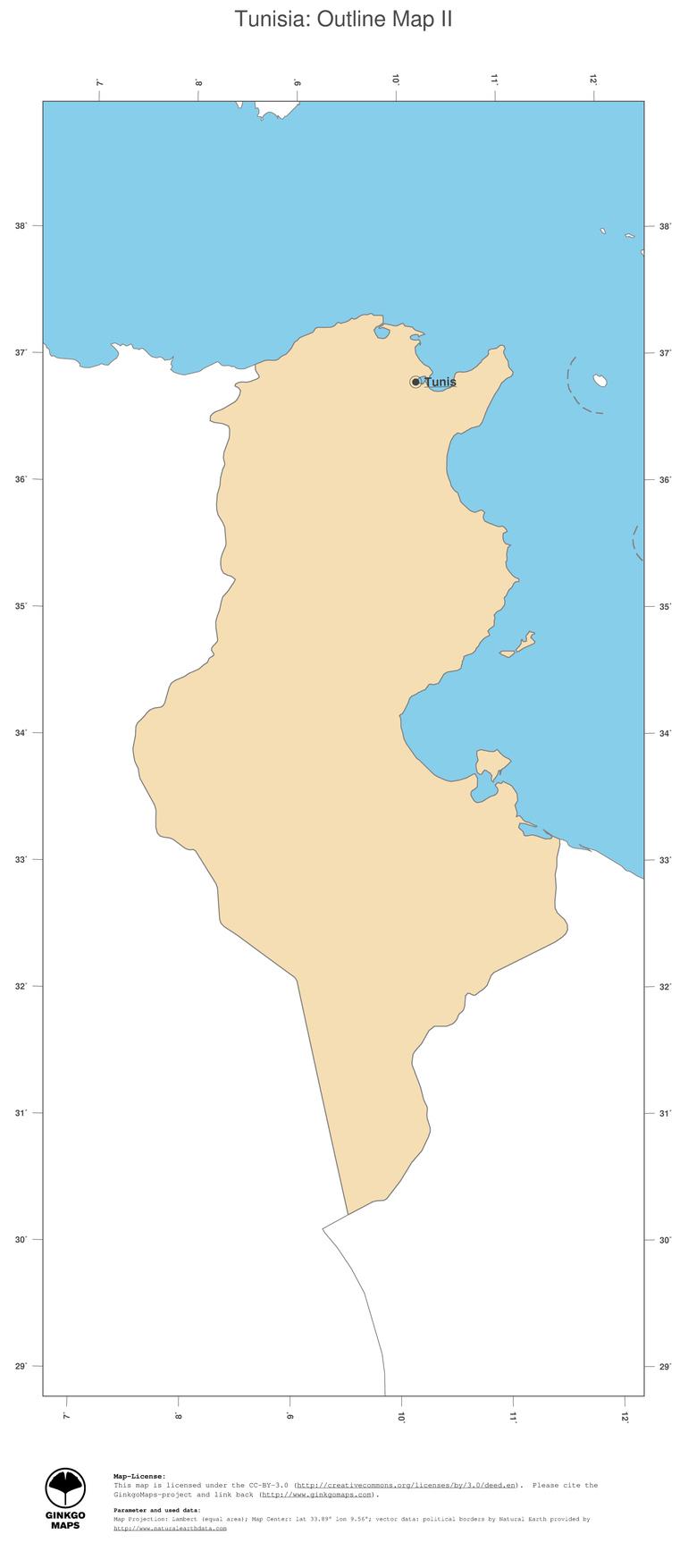 Map Tunisia; GinkgoMaps continent: Africa; region: Tunisia