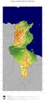 #5 Map Tunisia: color-coded topography, shaded relief, country borders and capital