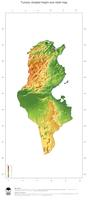#3 Map Tunisia: color-coded topography, shaded relief, country borders and capital
