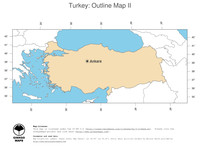 #2 Map Turkey: political country borders and capital (outline map)