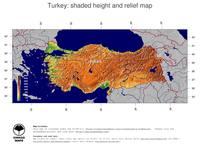 #5 Map Turkey: color-coded topography, shaded relief, country borders and capital