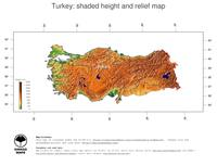 #3 Map Turkey: color-coded topography, shaded relief, country borders and capital