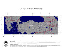 #4 Map Turkey: shaded relief, country borders and capital