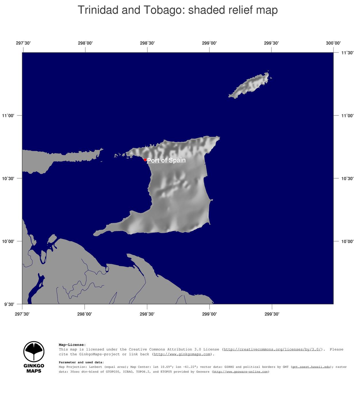 Map Trinidad and Tobago GinkgoMaps continent South America region