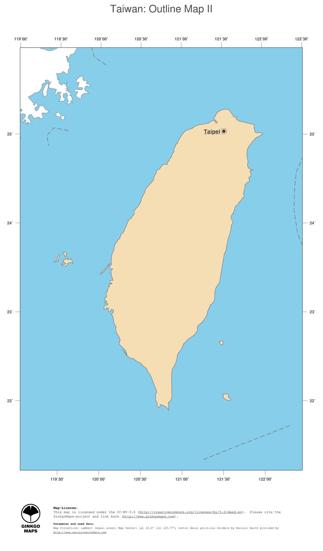 Asia Map Taiwan.Map Taiwan Ginkgomaps Continent Asia Region Taiwan