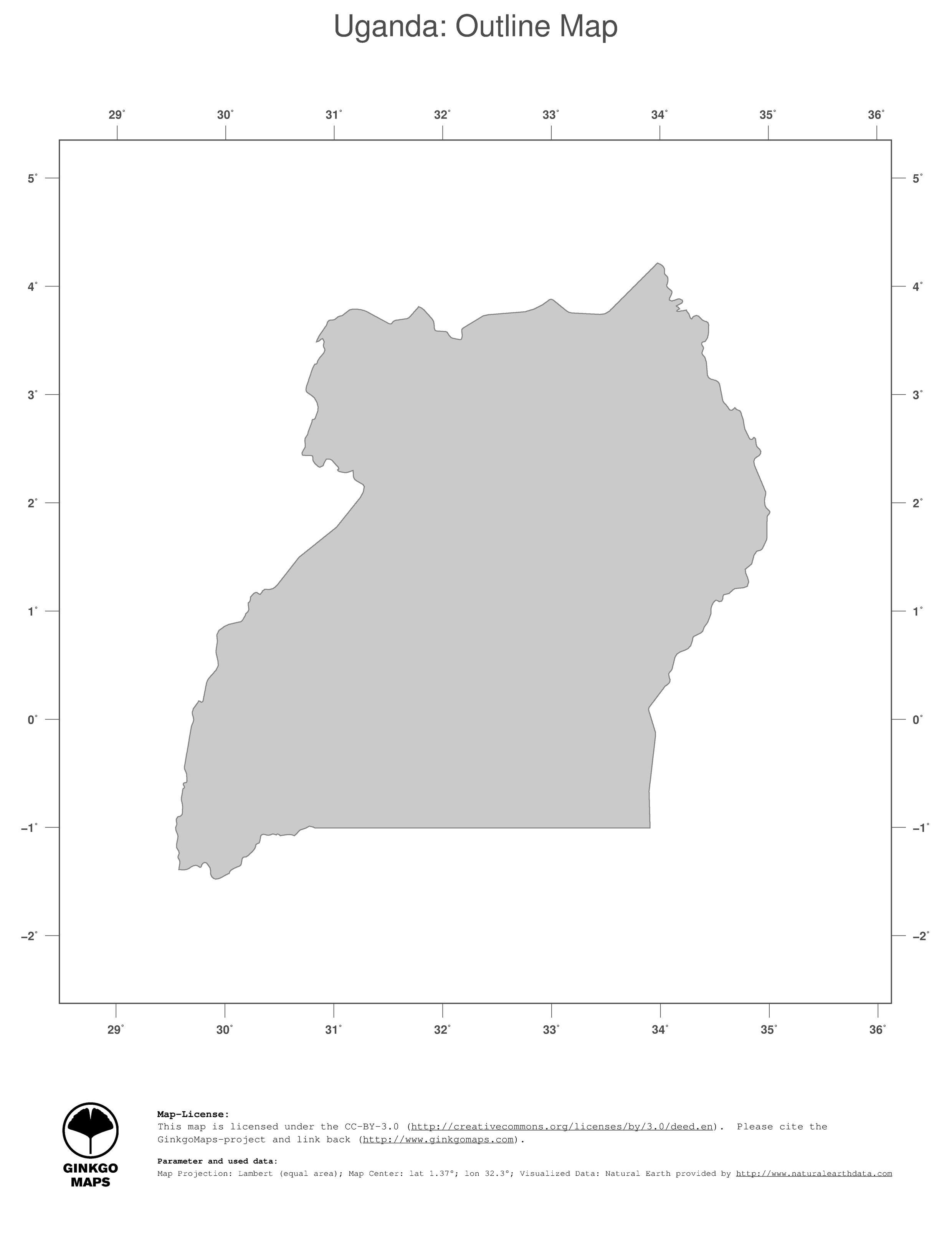 Map Uganda GinkgoMaps continent Africa region Uganda