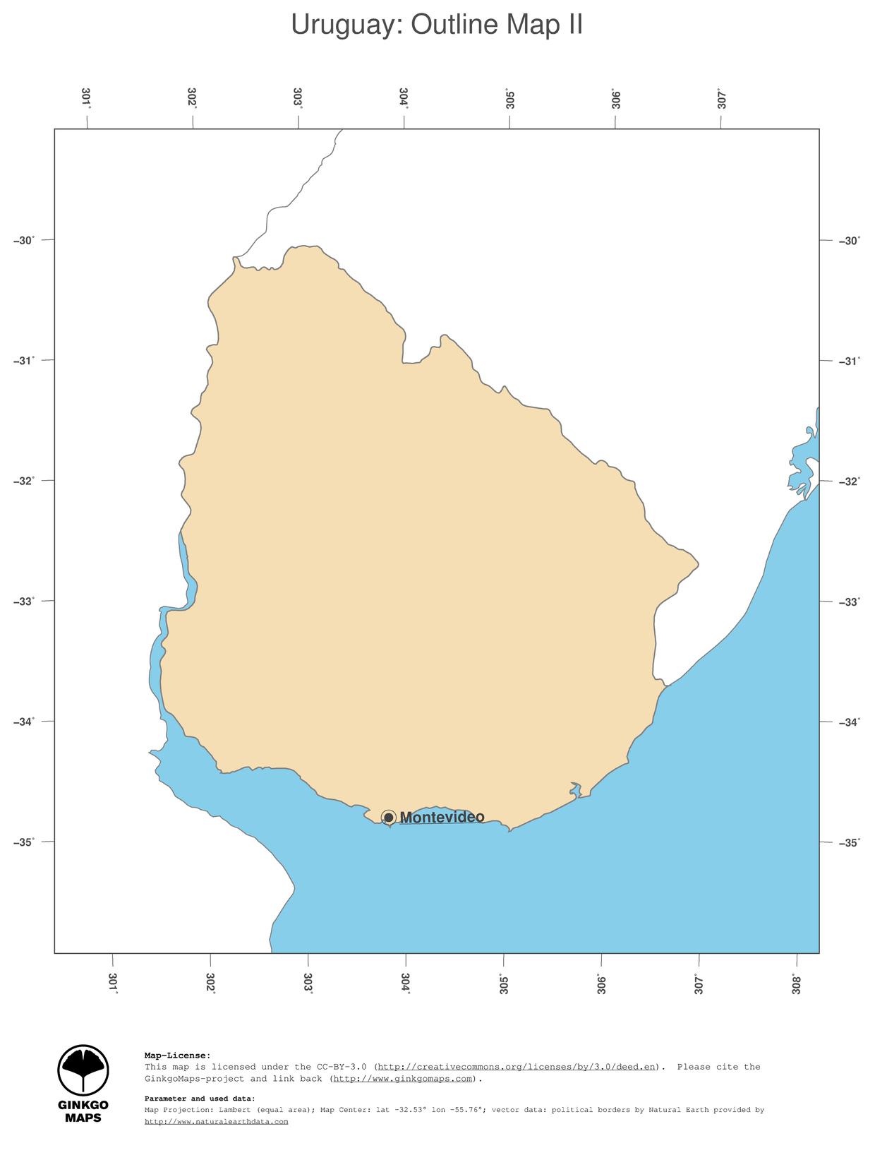 Map Uruguay GinkgoMaps continent South America region Uruguay