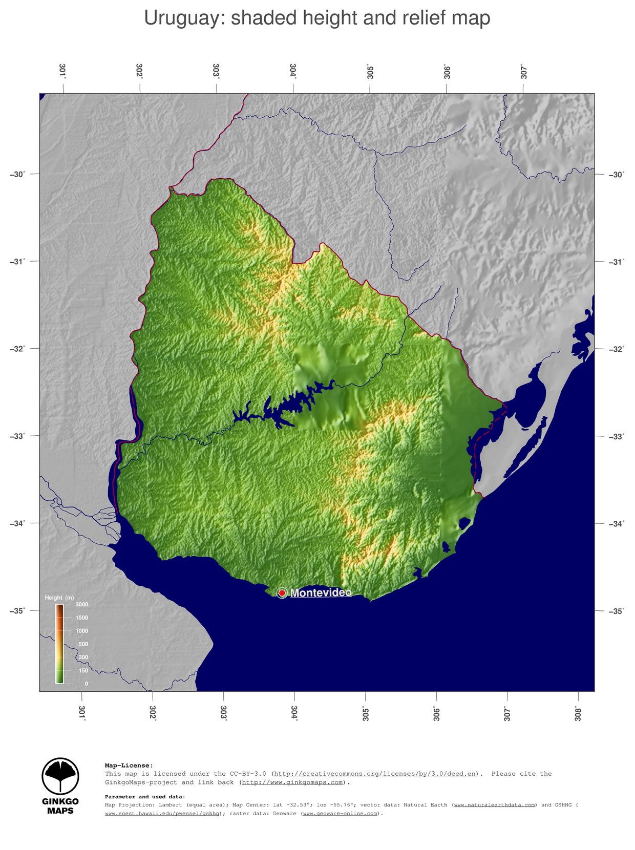 Map Uruguay GinkgoMaps Continent South America Region Uruguay - Uruguay relief map