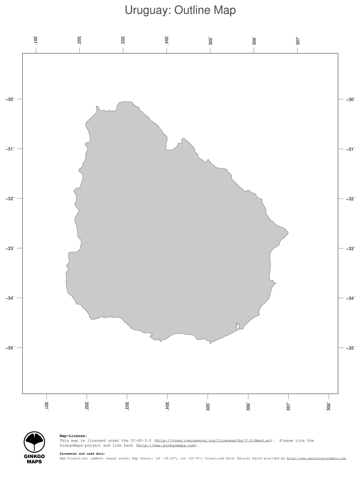 Map Uruguay GinkgoMaps Continent South America Region Uruguay - Uruguay blank map