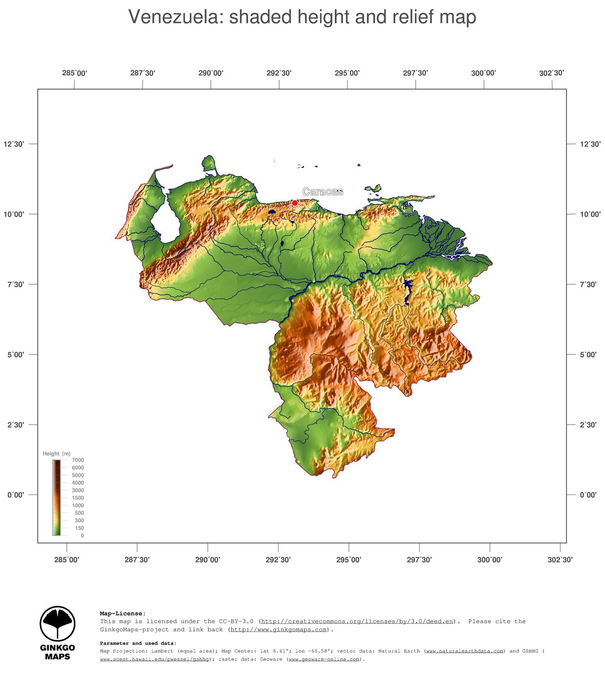 Venezuela Topographic Map.Map Venezuela Ginkgomaps Continent South America Region Venezuela