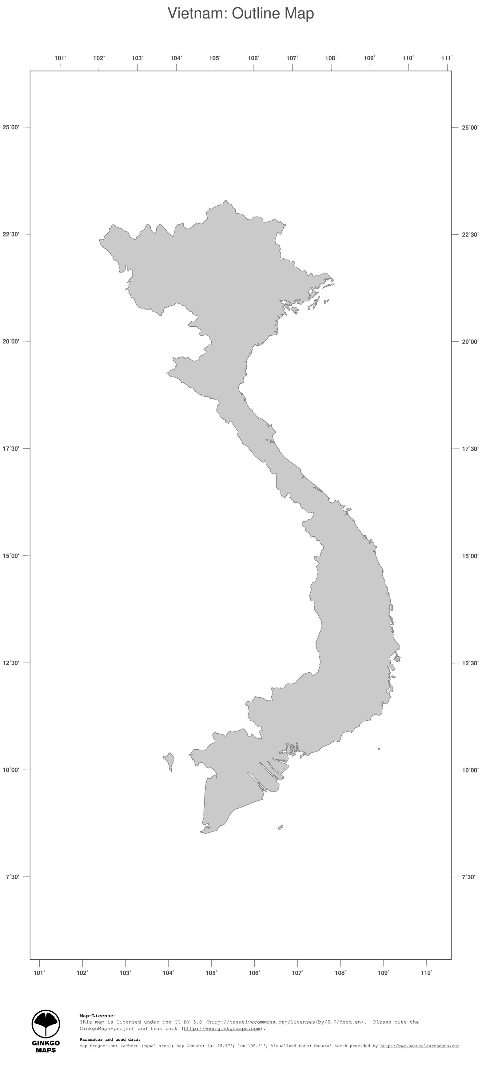 Map Vietnam GinkgoMaps continent Asia region Vietnam