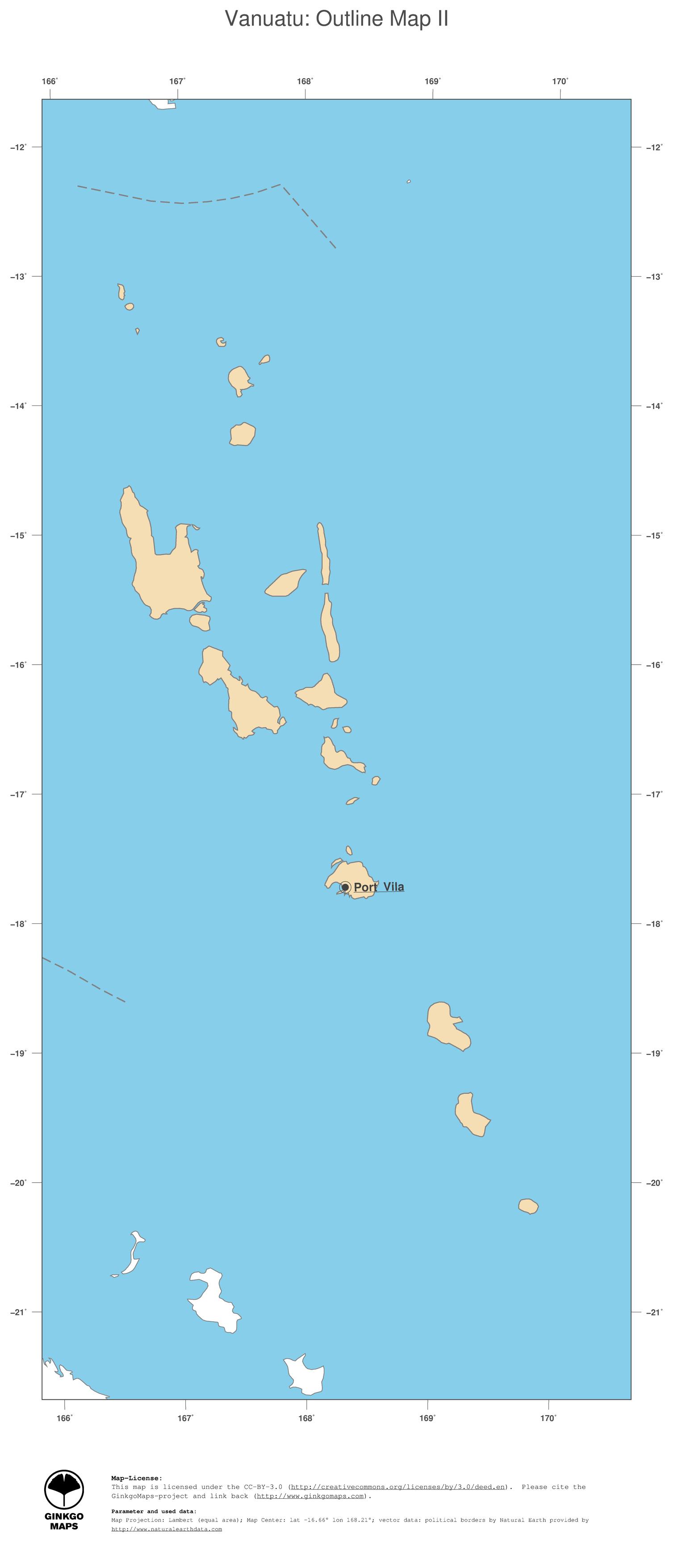 Map Vanuatu; GinkgoMaps continent: Oceania; region: Vanuatu