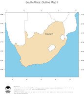 #2 Map South Africa: political country borders and capital (outline map)