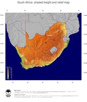 #5 Map South Africa: color-coded topography, shaded relief, country borders and capital