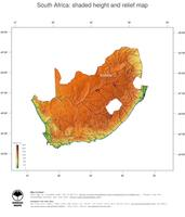 #3 Map South Africa: color-coded topography, shaded relief, country borders and capital