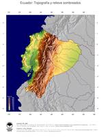 #4 Mapa Ecuador: Topografía codificada en colores, accidentes geográficos sombreados, fronteras y capital