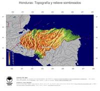 #4 Mapa Honduras: Topograf�a codificada en colores, accidentes geogr�ficos sombreados, fronteras y capital
