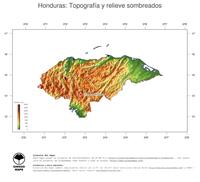#3 Mapa Honduras: Topograf�a codificada en colores, accidentes geogr�ficos sombreados, fronteras y capital