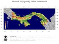 #4 Mapa Panama: Topografía codificada en colores, accidentes geográficos sombreados, fronteras y capital