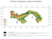 #3 Mapa Panama: Topografía codificada en colores, accidentes geográficos sombreados, fronteras y capital