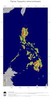 #4 Mapa Filipinas: Topografía codificada en colores, accidentes geográficos sombreados, fronteras y capital