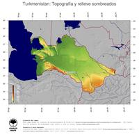 #4 Mapa Turkmenistan: Topografía codificada en colores, accidentes geográficos sombreados, fronteras y capital